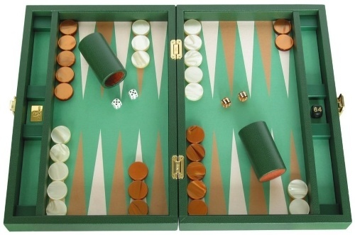 Leather Backgammon Set by Saza & Sacci - Green