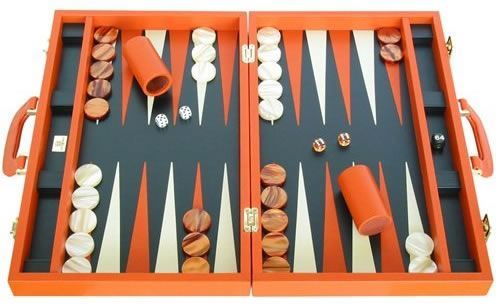 Leather Backgammon Set by Zaza & Sacci - Orange